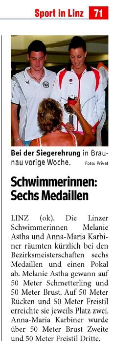 Rundschau - Bezirksmeisterschaften 2009 - Melanie Astha Karbiner